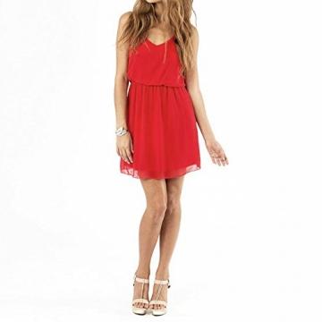 SUNNOW® NEU Damen Sommerkleid Minikleid reizvolle Chiffon beiläufig doppel Schulterriemen elegant Frauen Partykleid Cocktailkleid (M, Rot) - 2
