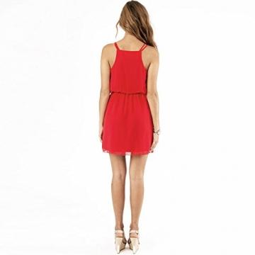 SUNNOW® NEU Damen Sommerkleid Minikleid reizvolle Chiffon beiläufig doppel Schulterriemen elegant Frauen Partykleid Cocktailkleid (M, Rot) - 3