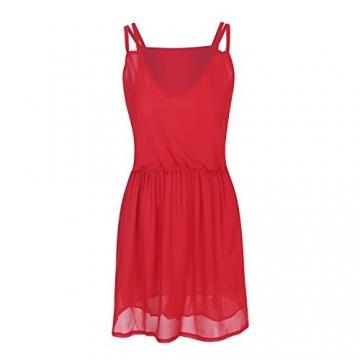 SUNNOW® NEU Damen Sommerkleid Minikleid reizvolle Chiffon beiläufig doppel Schulterriemen elegant Frauen Partykleid Cocktailkleid (M, Rot) - 5