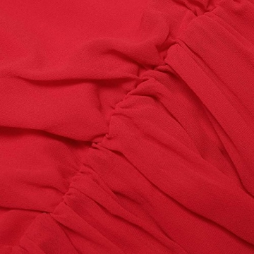 SUNNOW® NEU Damen Sommerkleid Minikleid reizvolle Chiffon beiläufig doppel Schulterriemen elegant Frauen Partykleid Cocktailkleid (M, Rot) - 7