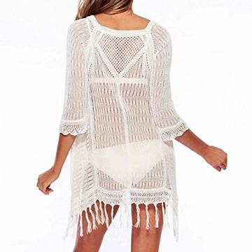 SUNNOW® NEU Damen Sommerkleid Minikleid Tops Oberteile Sexy Stitching Transparent Hohl Kittel Beachwear Strand Strickjacke Tassel Blusen modisch (Weiß) - 2