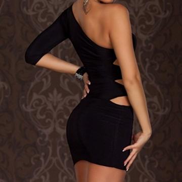 SUNNOW Sexy Damen Frauen Dessous Eine Schulter Clubwear Cocktail Abendkleid Cocktailkleid Nachtclub Tragen Kleid mini Figurbetonten Partykleid (schwarz) - 2