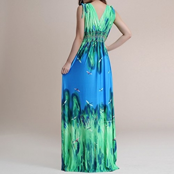 SUNNOW Sexy Kleider Lange Strand kleid Sommerkleider Urlaub Frauen Kleider Neckholder bodenlang Tief V-Ausschnitt Milch Seide Locker Damen Kleid Elegant (3XL, Grün) -
