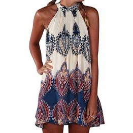 SUNNOW▒ NEU Damen Kleider Miniklei Sexy Partykleid modisch beil▒ufig loses Blumen gedruckt ▒rmellos Frauen Sommerkleid Strandkleid,Mehrfarbig,EU 38 (M) -