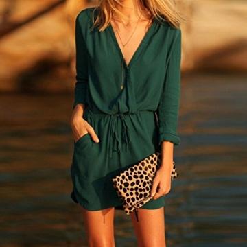 Sunnywill Frauen V Neck grün Langarm Chiffon Partykleid Abendkleid lässig Sommer Mini (S) -