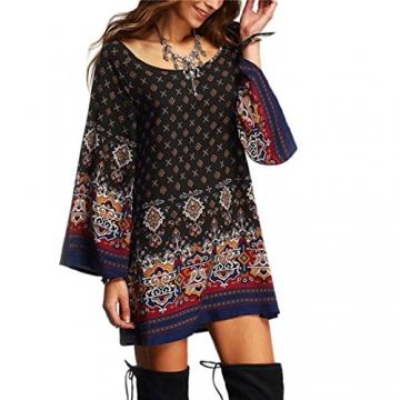 Sunnywill Long Sleeve Vintage Party Strand Kleid Lässig Vestidos für Mädchen Damen (XL) -