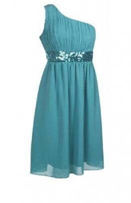 Super Prom One Shoulder Kleider Pailletten abendkleider knielang kurz elegant (34, Türkis) -