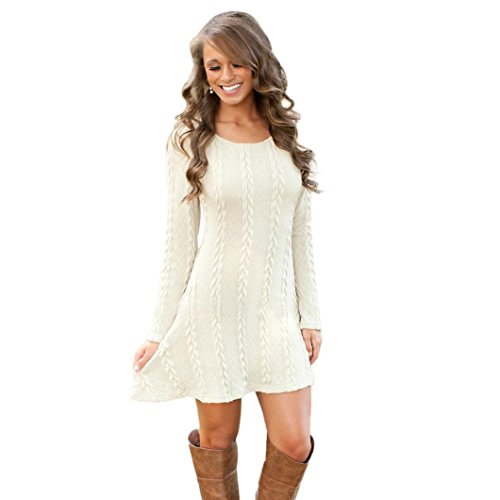 Susenstone Lange Hülse der Frauen O-Neck Pullover Schlank Knit BodyCon Minikleid (M, Weiß) - 1