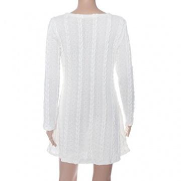 Susenstone Lange Hülse der Frauen O-Neck Pullover Schlank Knit BodyCon Minikleid (M, Weiß) - 2