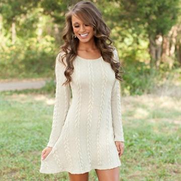 Susenstone Lange Hülse der Frauen O-Neck Pullover Schlank Knit BodyCon Minikleid (M, Weiß) - 4
