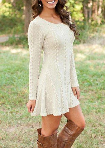 Susenstone Lange Hülse der Frauen O-Neck Pullover Schlank Knit BodyCon Minikleid (M, Weiß) - 5