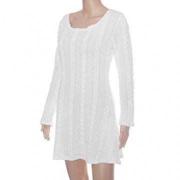 Susenstone Lange Hülse der Frauen O-Neck Pullover Schlank Knit BodyCon Minikleid (M, Weiß) - 6
