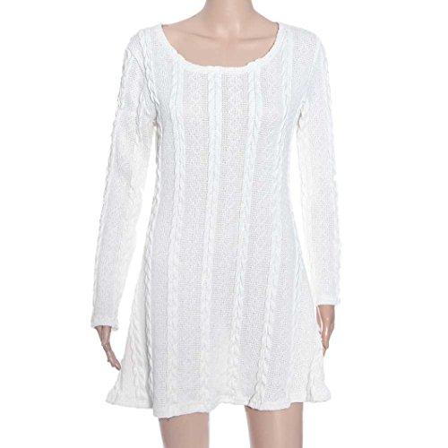 Susenstone Lange Hülse der Frauen O-Neck Pullover Schlank Knit BodyCon Minikleid (M, Weiß) - 7
