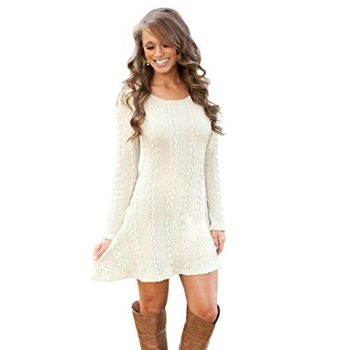 Susenstone Lange Hülse der Frauen O-Neck Pullover Schlank Knit BodyCon Minikleid (M, Weiß) - 8