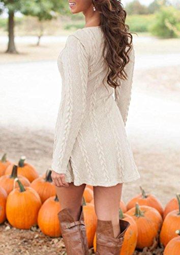 Susenstone Lange Hülse der Frauen O-Neck Pullover Schlank Knit BodyCon Minikleid (M, Weiß) - 9