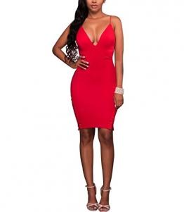 Swallowuk Sexy V-Ausschnitt Sling Hosen Schlitze Kurzer Rock Pack-Hüft-Kleid (S, Rot) -