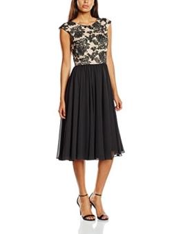 Swing Damen knielanges Kleid mit Blumenverzierung, Gr. 44, Mehrfarbig (pastellorange/schwarz 7910) - 1