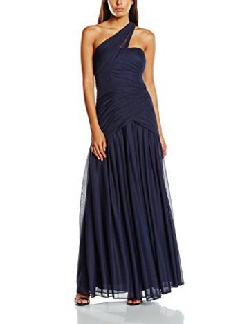 Swing Damen Maxi-Kleid mit One-Shoulder Träger in Wickeloptik, Einfarbig, Gr. 44, Violett (blaulila 420) - 1