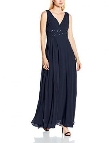 Swing Damen Maxi-Kleid mit verziertem Taillenband, Einfarbig, Gr. 44, Blau (schwarzblau 300) - 1