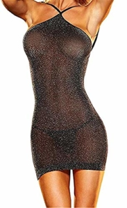 SxyBox Damen Sexy erotische Dessous Transparent Wetlook Minikleid Neckholder Clubwear Bodycon - 1