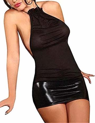 SxyBox Damen Sexy erotische Dessous Transparent Wetlook Minikleid Neckholder Clubwear Bodycon - 1