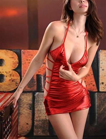 SxyBox Damen Sexy erotische Partykleid Minikleid Bikini Wetlook Clubwear Stripperin Kleid - 2