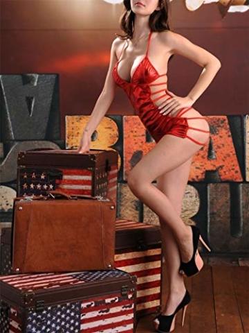 SxyBox Damen Sexy erotische Partykleid Minikleid Bikini Wetlook Clubwear Stripperin Kleid - 3