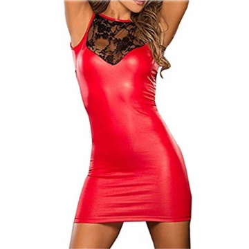 SxyBox Damen Sexy Kleid erotische Partykleid Clubwear Lackleder Wetlook Flexibel - 1