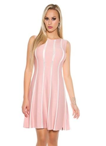 Tailliertes Midi-Feinstrick-Kleid mit Stilvollen Glitzer-Streifen S/M - 2