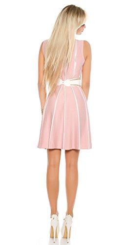 Tailliertes Midi-Feinstrick-Kleid mit Stilvollen Glitzer-Streifen S/M - 3