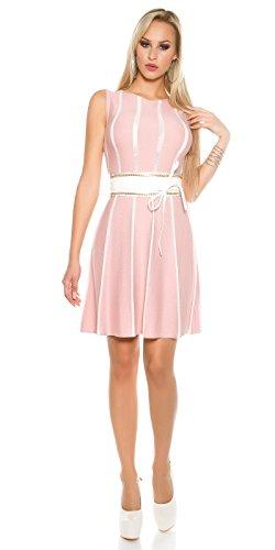 Tailliertes Midi-Feinstrick-Kleid mit Stilvollen Glitzer-Streifen S/M - 4