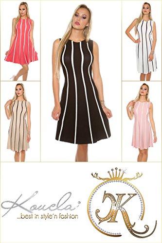 Tailliertes Midi-Feinstrick-Kleid mit Stilvollen Glitzer-Streifen S/M - 5