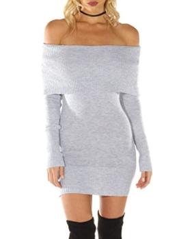 Terryfy Damen Kurz Kleid Elegant Figurbetont Langarm Off Shoulder Strickkleid Minikleid Dress Grau - 1