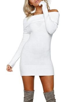 Terryfy Damen Kurz Kleid Elegant Figurbetont Langarm Off Shoulder Strickkleid Minikleid Dress Weiß - 1