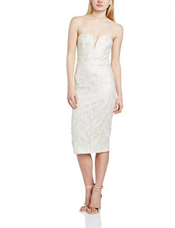 TFNC Damen Schlauch Kleid Gr. 36, Elfenbein - Off-White (Cream/Gold) - 1