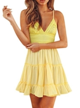 The Aron ONE Sommerkleid Damen Sexy V Ausschnitt Spitzenkleid Träger Rückenfreies Schleife Strandkleider Minikleid kurz Party kleid (Gelb, L) - 1