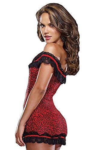 ThreeH Rot Leoparddruck Minikleid Strecken Chemise Schön Dessous Engen Nachthemd Spitze Kleid für Frauen C6781 - 1
