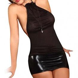 Tiaobug Damen Lingerie Dessous Leder Lack Negligee Clubwear Partykleid - 1