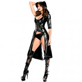 Tiaobug Damen Wetlook Catwoman Kostüm Catsuit Leder Optik Gothic Overalls Bodysuit Clubwear - 1