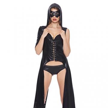 Tiaobug Damen Wetlook Catwoman Kostüm Catsuit Leder Optik Gothic Overalls Bodysuit Clubwear - 2