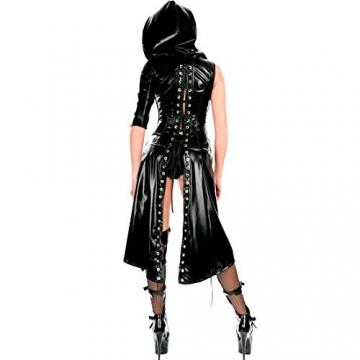Tiaobug Damen Wetlook Catwoman Kostüm Catsuit Leder Optik Gothic Overalls Bodysuit Clubwear - 4