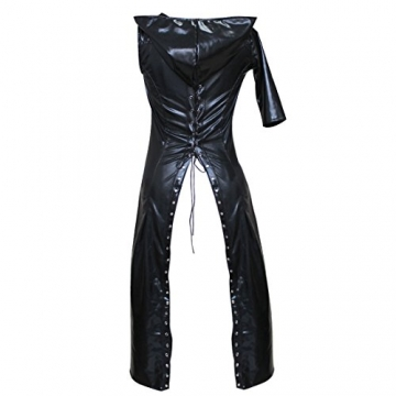 Tiaobug Damen Wetlook Catwoman Kostüm Catsuit Leder Optik Gothic Overalls Bodysuit Clubwear - 6