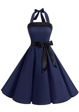Timormode 10212 Damen Vintage Kleid 1950 Neckholder Cocktailkleid Faltenrock Partykleid S Marineblau - 1