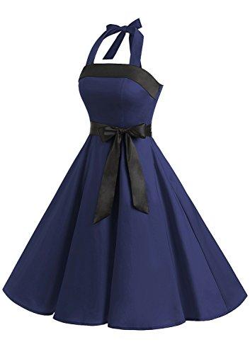 Timormode 10212 Damen Vintage Kleid 1950 Neckholder Cocktailkleid Faltenrock Partykleid S Marineblau - 2