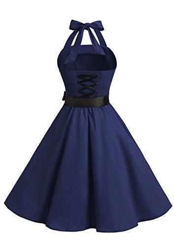 Timormode 10212 Damen Vintage Kleid 1950 Neckholder Cocktailkleid Faltenrock Partykleid S Marineblau - 3