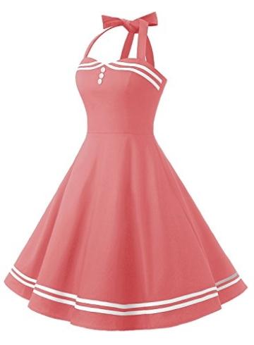 Timormode Rockabilly Kleider Neckholder 50s Vintage Kleid Retro Knielang Kleider Damenkleider Festlich Cocktailkleider 10387 Koralle M - 2
