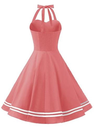 Timormode Rockabilly Kleider Neckholder 50s Vintage Kleid Retro Knielang Kleider Damenkleider Festlich Cocktailkleider 10387 Koralle M - 3