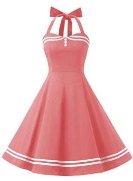 Timormode Rockabilly Kleider Neckholder 50s Vintage Kleid Retro Knielang Kleider Damenkleider Festlich Cocktailkleider 10387 Koralle M - 1