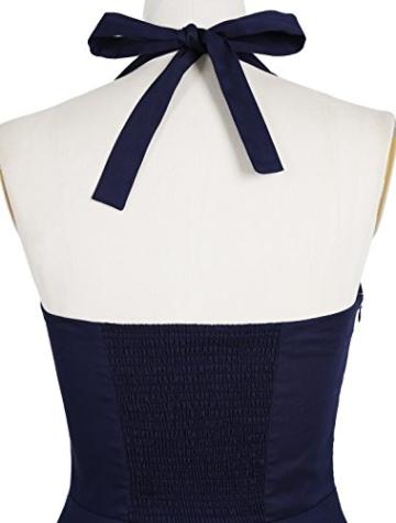 Timormode Rockabilly Kleider Neckholder 50s Vintage Kleid Retro Knielang Kleider Damenkleider Festlich Cocktailkleider 10387 Koralle M - 4