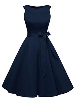 Timormode Sommerkleider 50er Retro Damen Rockabilly Kurz Vintage Kleid Ärmellos Swing Kleid Ballkleid 10408 M Marineblau - 1